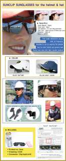 Brand New SUNGLASSES for Safety helmet hat sports works