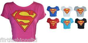 Womens SUPERMAN Printed Crop Tops T Shirt Ladies SuperGirl Print