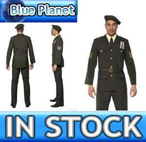 Mens 1940s Wartime Army Officer Fancy Dress Costume M L