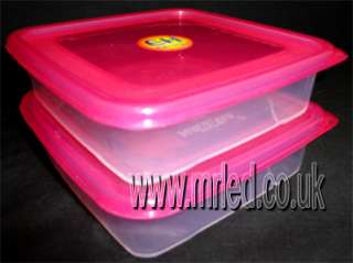NEW 2 x Plastic Food Storage Tubs Containers PINK Lids