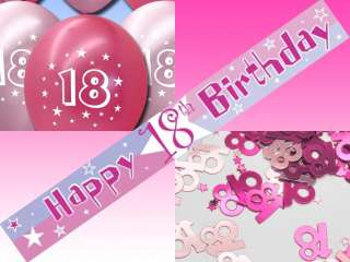 PINK 18th Birthday BANNER Balloons Confetti Party Set