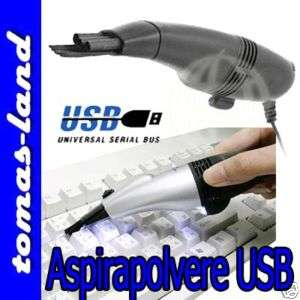 MINI ASPIRATORE USB CON LUCE LED TURBO NOTEBOOK PC NEW
