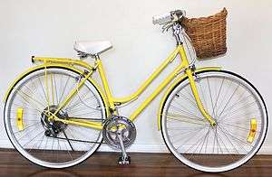 GENUINE VINTAGE RETRO LADIES REPCO BICYCLE BIKE YELLOW HAND RESTORED