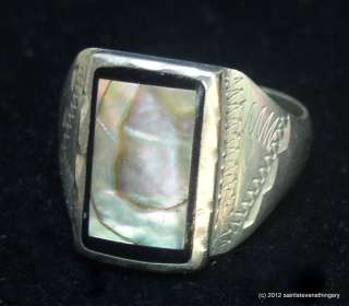 Vintage Mens Hand Made Abalone And Sterling Silver Ring Size 11