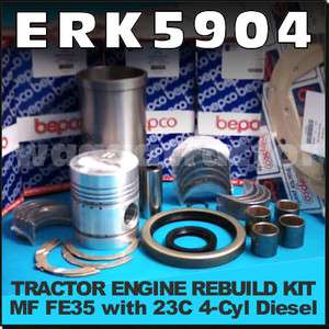 Engine Rebuild Kit Massey Ferguson MF FE35 35 Tractor with 4Cyl 23C