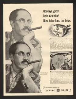 1953 Groucho Marx General Electric GE TV Tube Print Ad