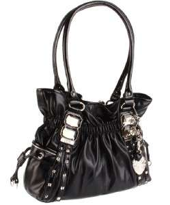 Kathy Van Zeeland Studded Glam Rock II Belt Shopper Black Key Chain