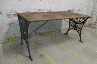Antique Vintage Cast Iron & Wooden Timber Outdoor Garden Table