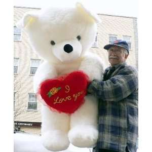 GIANT 54 SOFT STUFFED TEDDY BEAR WITH LUXURIOUS WHITE FUR