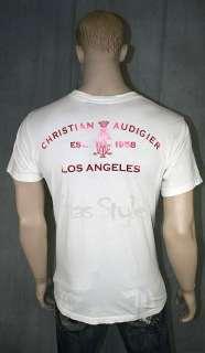 Christian Audigier Skull Roses STONES T shirt white XXL