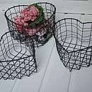 set of three heart shaped wire baskets by seahorse