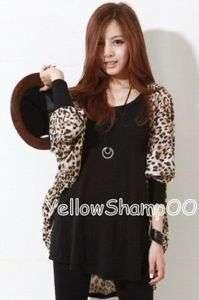 leopard print tunic cardigan brown s/m