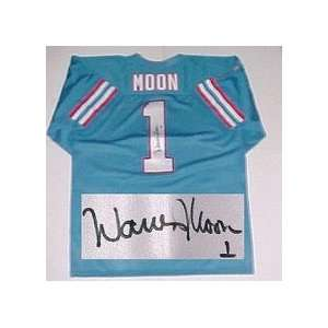 Warren Moon, Houston Oilers NFL Authentic Autographed Blue Throwback