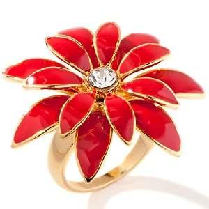 Abdul FYG Enamel Feminine Flower Ring with Pavé Center