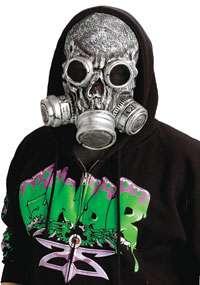 Silver Bio Zombie Gas Mask   Halloween Costume Accessories
