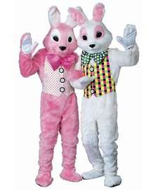 Easter Bunny Mascot Costume  Pink Bunny Costume  White Bunny Costume