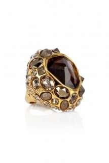 Alexis Bittar  Druzy Droplet Gold Smoky Quartz Ring by Alexis Bittar