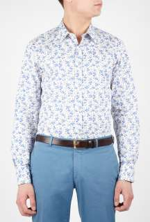 Paul Smith London  Cream Sky Floral Print Slim Shirt by Paul Smith
