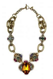 Anton Heunis  Art Deco Flower Crystal Encrusted Necklace by Anton