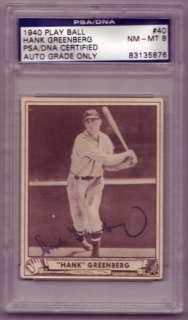 Hank Greenberg (dec, 1986) Signed 1940 Play Ball PSA 8, PSA/DNA