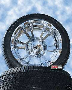 Golf CART WHEEL AND TIRE Polished CHROME 12 SPOKE