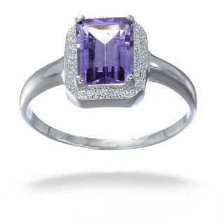 Emerald Cut Amethyst and Diamond Ring (1 1/2ct tgw Sizes 5 8) Jewelry