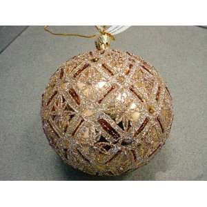 4.75 Paris Diamond Star Pattern Glass Ball Ornament 120mm