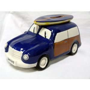 Ceramic Woody Coin Piggy Bank w/ Surfboard Blue 7.5 X 3