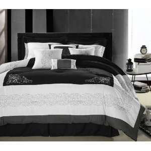 Black, Gray & White 8 Piece Queen Comforter Bed In A Bag Set Home