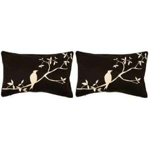 Surya Black and Beige Bird Set of 2 Lumbar Pillows Home