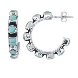 Earrings. Sterling Silver Natural Turquoise Set Hoop Earrings. 100%