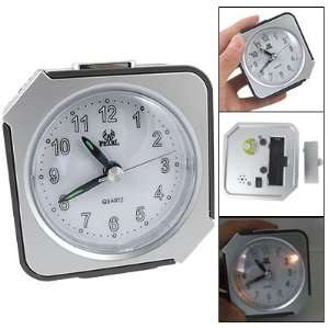 Table Desk Quartz Alarm Clock Black Silver Tone: Home & Kitchen