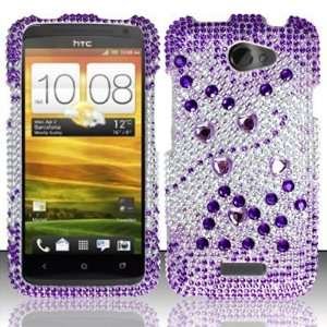 PURPLE GEMS Hard Plastic Bling Rhinestone Case for HTC One