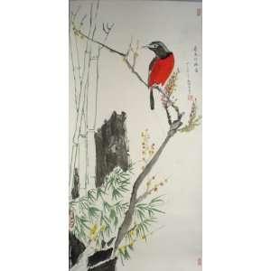 Original Chinese Brush Painting Scroll   Longivity Bird ,hand painted