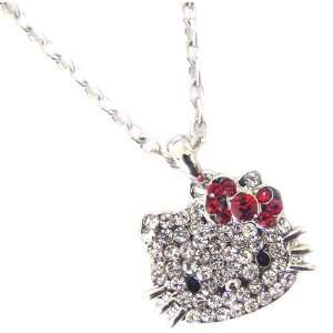 Sparkling Kitty Face Charm Necklace with Red Bow Jewelry