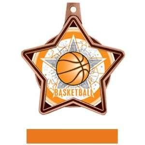 All Star Insert Custom Basketball Medals M 5501B BRONZE MEDAL / ORANGE