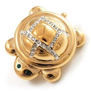 Tiny Gold Tone Crystal Turtle Pin Brooch Jewelry
