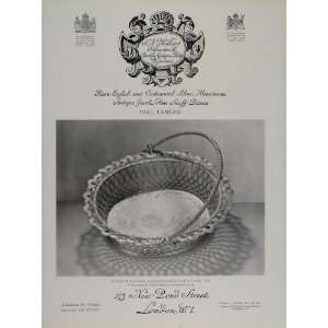 1731 George II Silver Cake Basket   Original Print Ad: Home & Kitchen