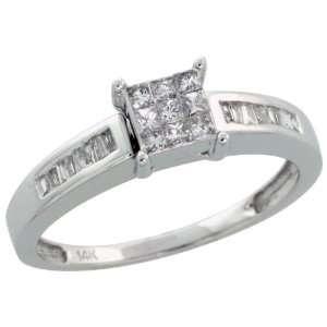 14k White Gold Square shaped Diamond Ring, w/ 0.35 Carat