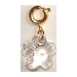 14K Gold Plated Swarovski Crystal Flower Charm   Clear