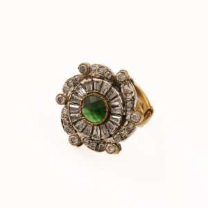 Enchanting Cluster Victorian Ring with Green Stone