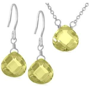 Sterling Silver Yellow Cubic Zirconia Pendant & Earring Set Jewelry