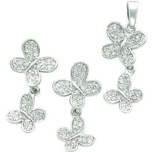 Silver Cubic Zirconia Butterfly Earring and Pendant Set Jewelry