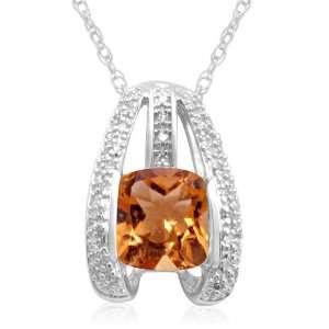 Gold Checkerboard Cushion Cut Citrine and Diamonds Bridge Pendant, 18