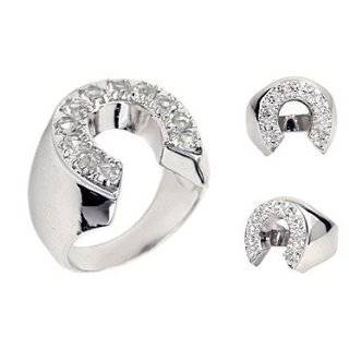 Mens Silver Plated CZ Lucky Horseshoe Ring: Jewelry
