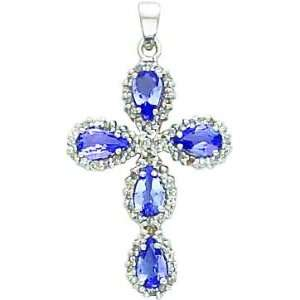 14K White Gold Diamond & Tanzanite Cross Pendant Jewelry