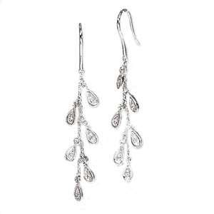 14k White Gold & Diamond Cluster Drop Earrings (0.09ctw) Jewelry