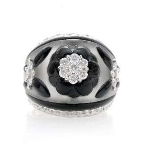 Platinum .6 Ct Diamond Black Enamel Crystal Quartz Ring Jewelry
