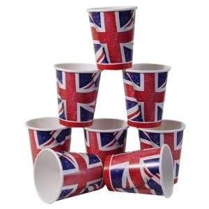 Union Jack Flag Decor Disposable Paper Cups Pack 8
