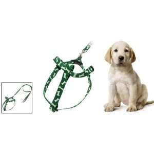 Como Green Bone Pattern Pet Dog Nylon Pulling Harness and